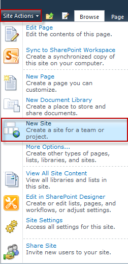 Create a New Site on SharePoint