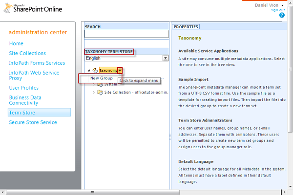 Managing Term Store on SharePoint