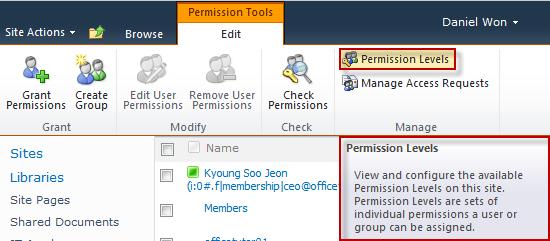 Permission Level on SharePoint