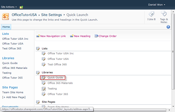 Quick Launch on SharePoint