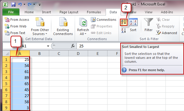 Working with your Data on Excel