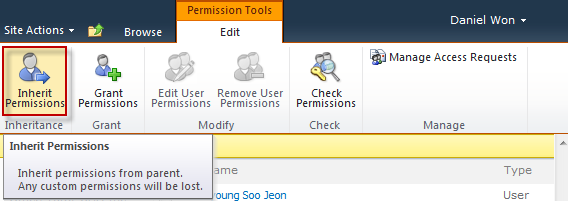 Site Permissions for a list, library, or item on SharePoint