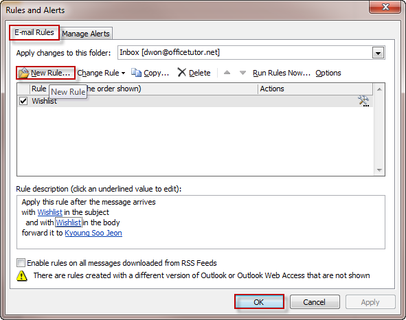 Managing email messages by using rules Outlook 2010
