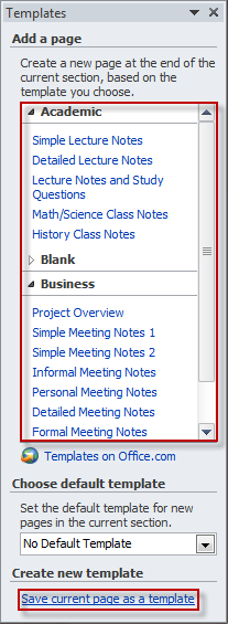 Creating a template in OneNote 2010