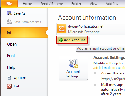 how to add hotmail account in outlook 16