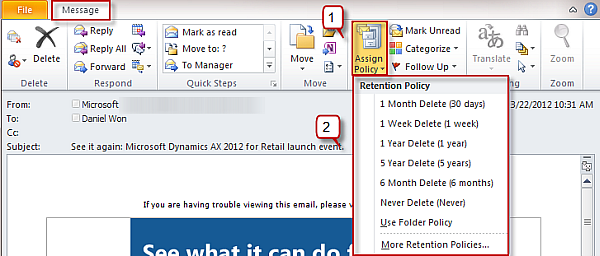 Retention Policies on Outlook 2010 | OfficeTutor USA