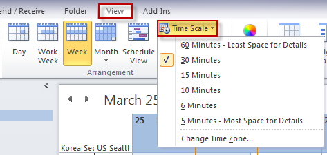 Change the calendar time scale on Outlook 2010