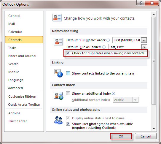 Delete duplicate contacts on Outlook 2010