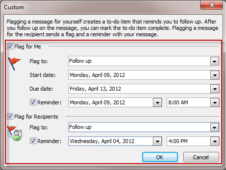Include a reminder in an email message